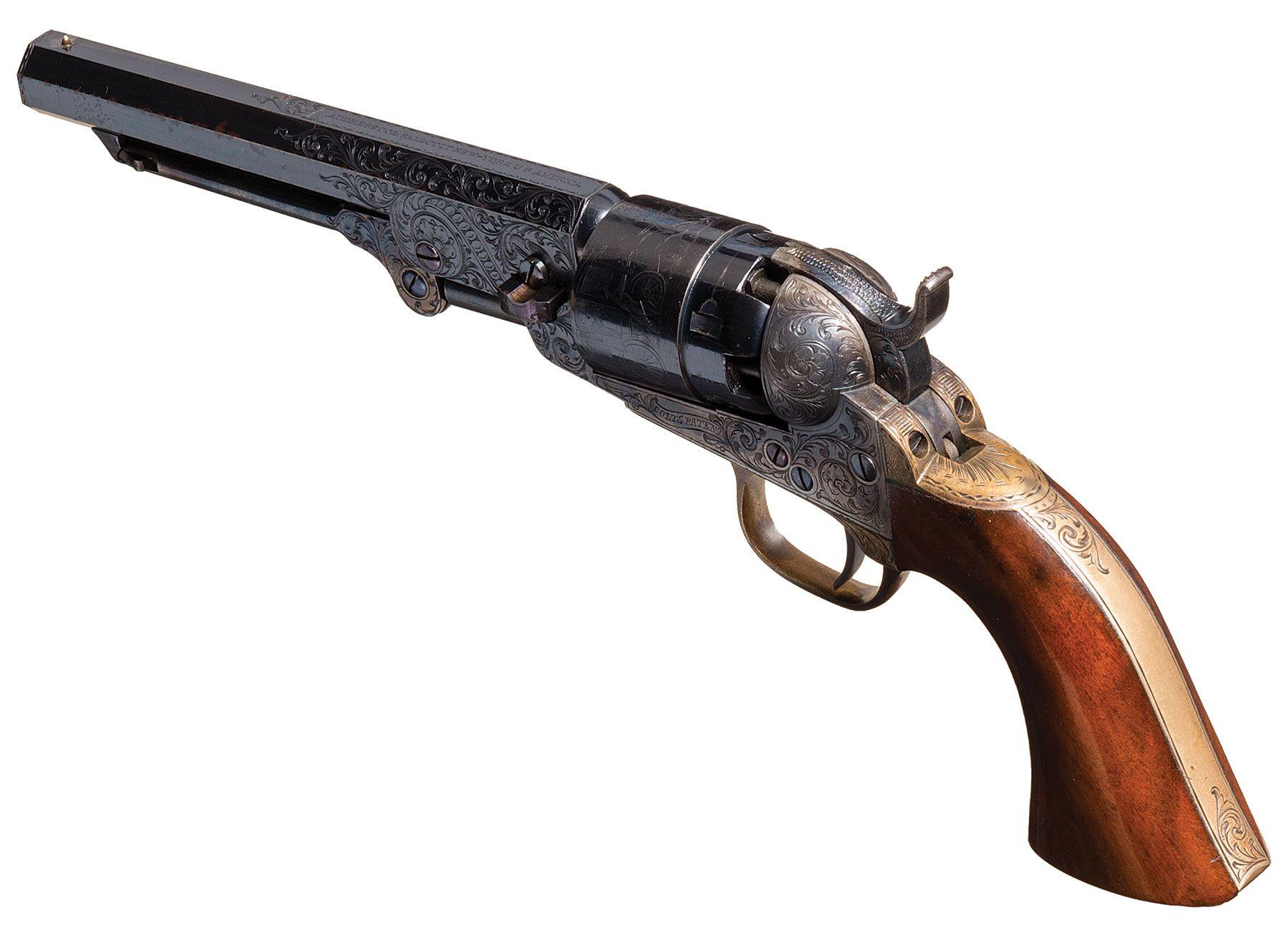 cased factory engraved colt model 1862 pocket navy revolver old