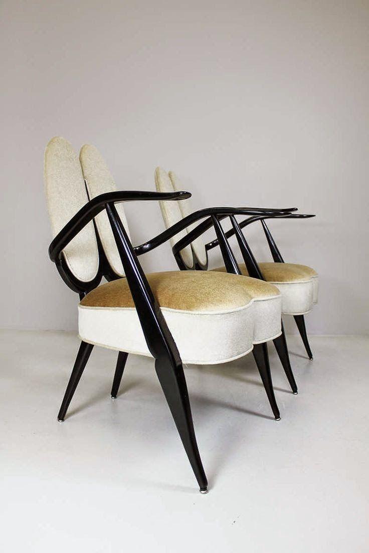 Ebonized wood armchairs do designer italiano guglielmo for Mobilia anos 50