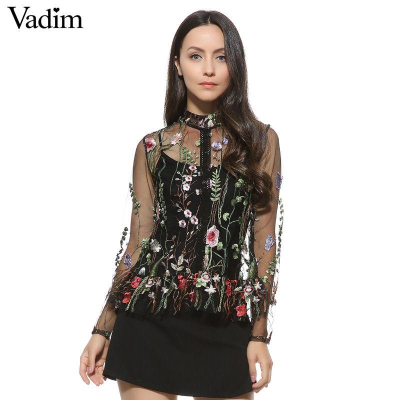 0d26958d0 Mulheres doce flor bordado camisas de malha sexy transparente manga  comprida blusa feminino gola marca tops blusas LT1558 em Blusas   Camisas  de Das ...