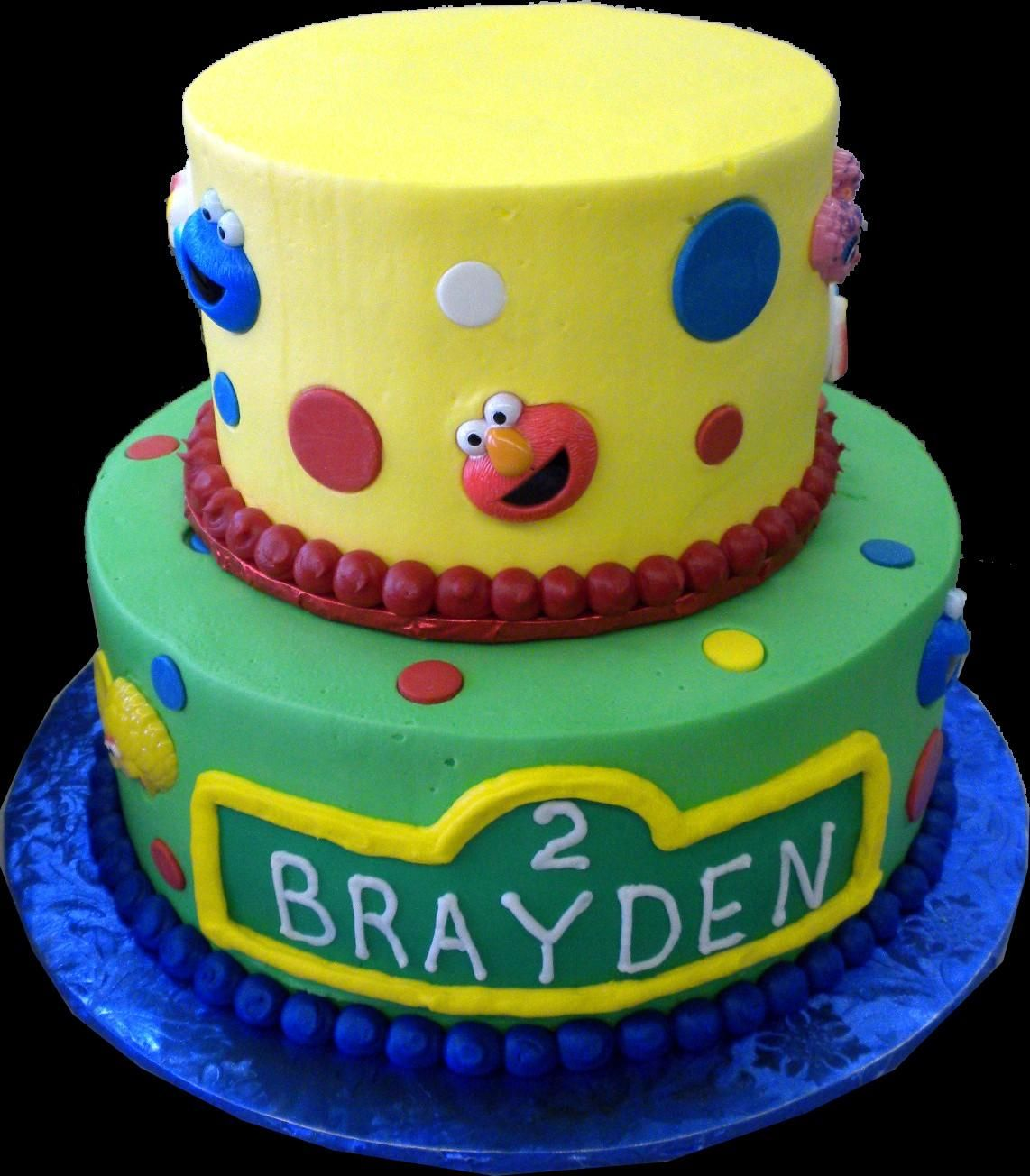 Sesame Street 2nd Birthday Cake Yellow And Green Butercream Iced Round 2 Tiers Decorated With Circles Dots The Faces Of Elmo Cookie Monster Big