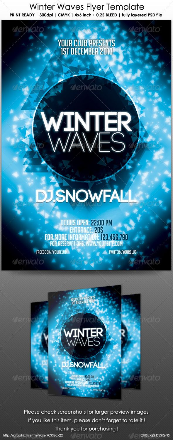 Winter Waves Flyer Template  Techno Flyers And Club Flyers