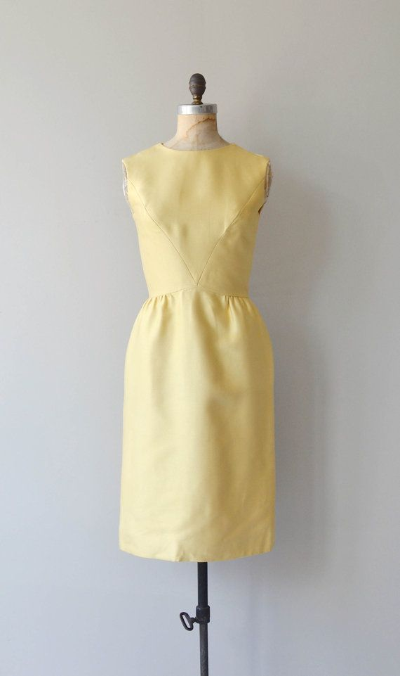 Vintage 50s 60s Minimalist Sheath Dress  Pale Yellow Dress