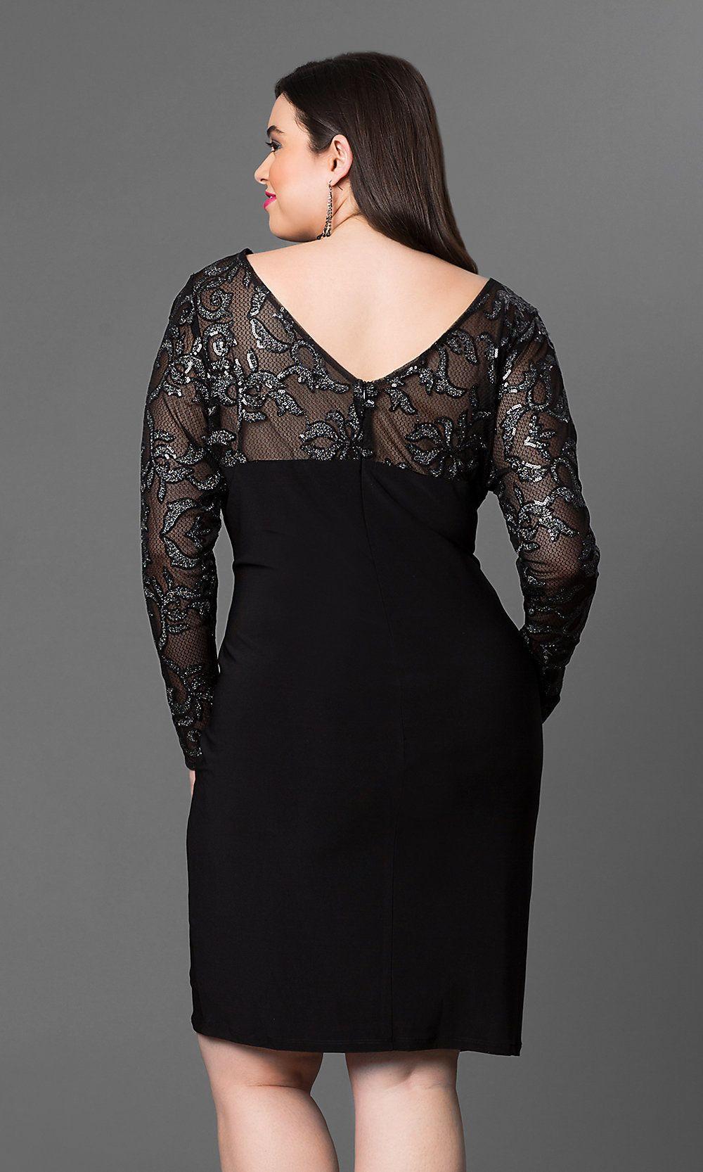375c02b4f0e ... long sleeve knee-length Marina party dress. Knee-Length Plus Party Dress  with Sleeves -PromGirl
