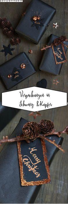 Verpackungen in schwarz und kupfer-  edel und schlicht #geschenkeverpacken