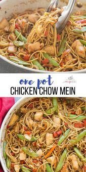 An easy one pot version of Chicken Chow Mein  loaded with peppers cabbage   Chicken
