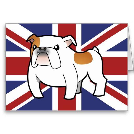Patriotic Bulldog (red splash) Greeting Card
