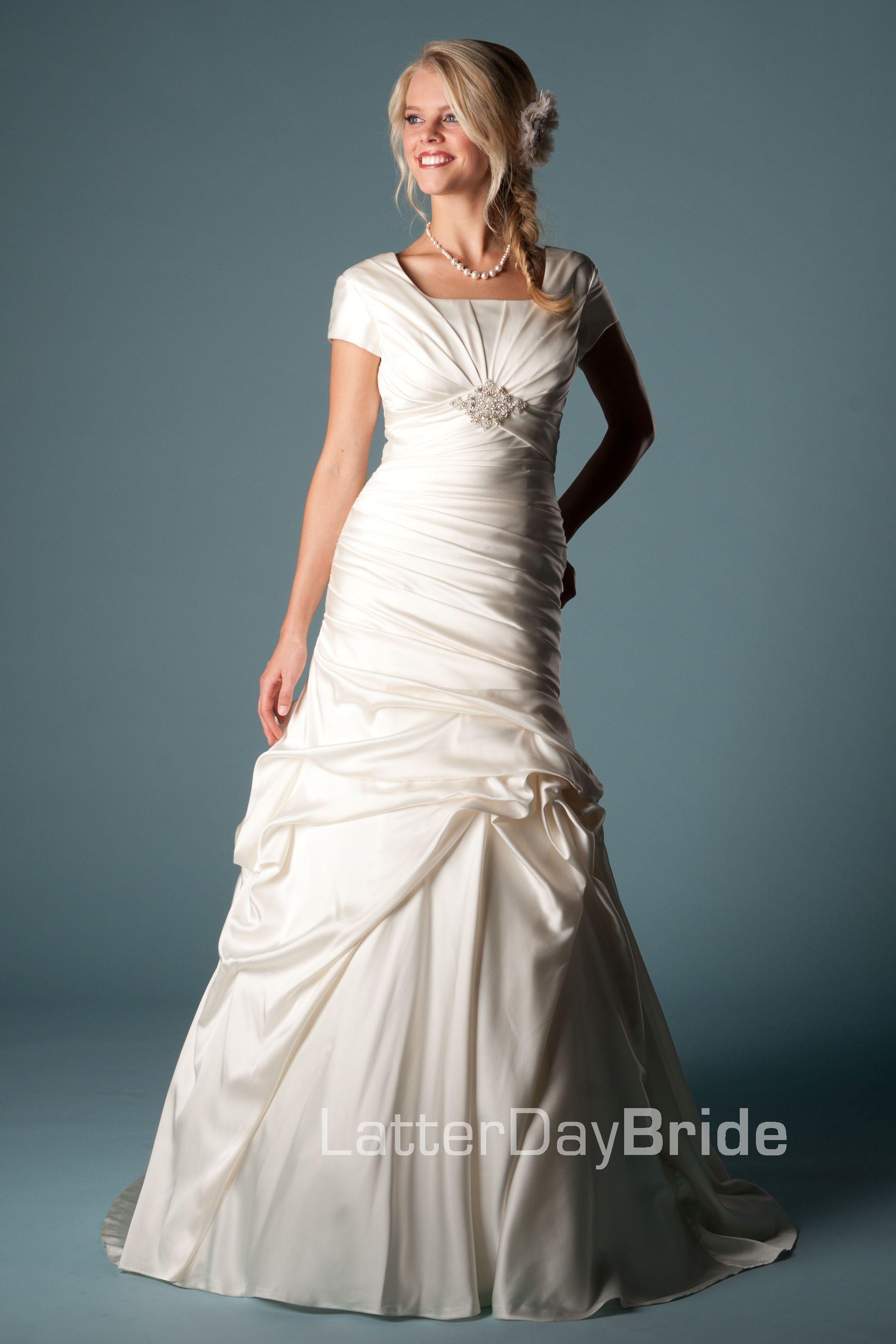 Modest Wedding Dress, Chantarel | LatterDayBride & Prom. Modest Mormon LDS Temple Dress