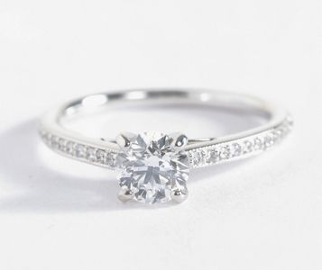 2f3b4ea41c47ea Riviera Pavé Heirloom Cathedral Diamond Engagement Ring in 14k White Gold  (1/10 ct. tw.)