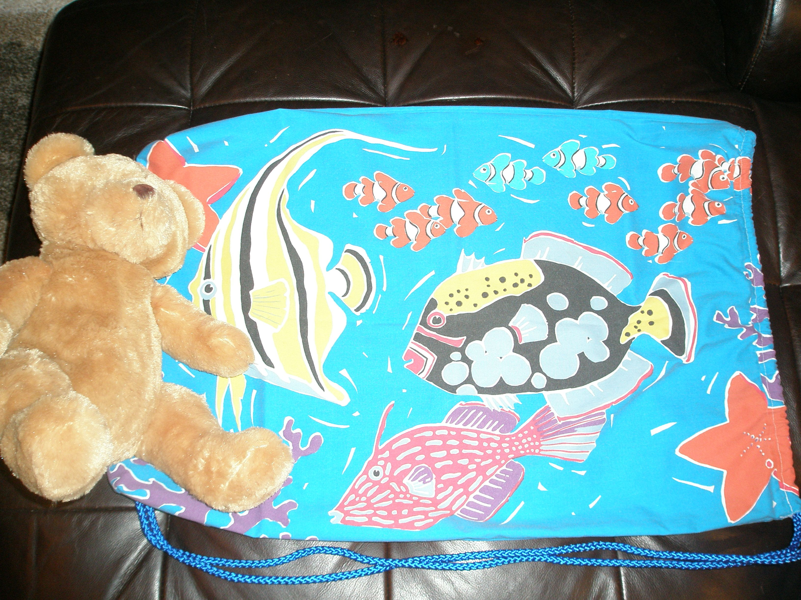 Tropical fish bag. Bags for foster kids made from pillowcases and stuffed with a furry friend.