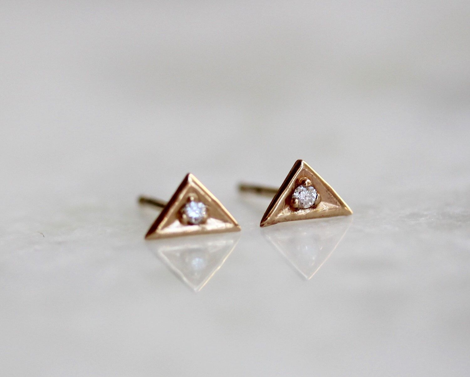 14k Diamond Triangle Stud Earrinys Solid Gold Earring Tiny Studs