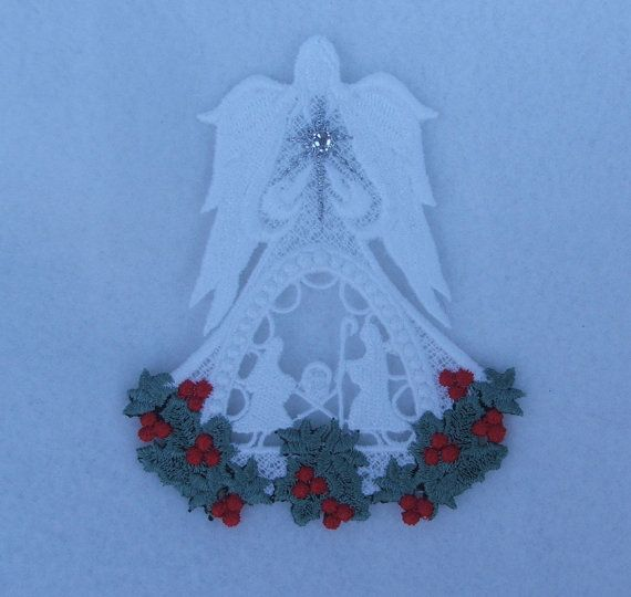 Christmas Angel with Holly Nativity by DebsCustomCreations on Etsy, $7.99