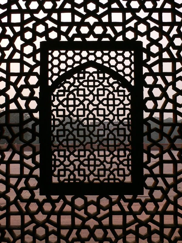 incricate lattice work on one of the windows in humayun s tomb