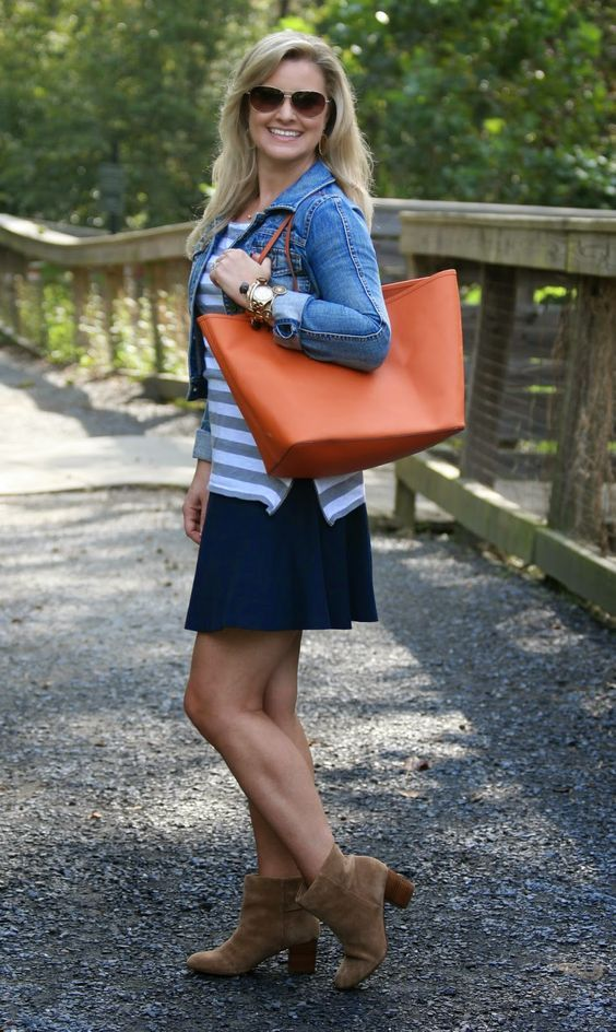 How to Wear a Skirt With Booties - orange purse and Jean jacket - Peaches in a Pod: