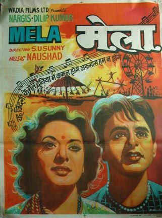 Mela (1948) Dilip Kumar, Classic, Indian, Bollywood, Hindi, Movies, Posters, Hand Painted