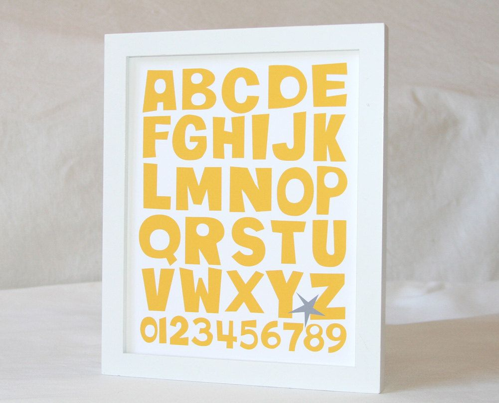 ABC 123, Home Decor, Nursery Art Print, Wall ART, Children\'s Room ...