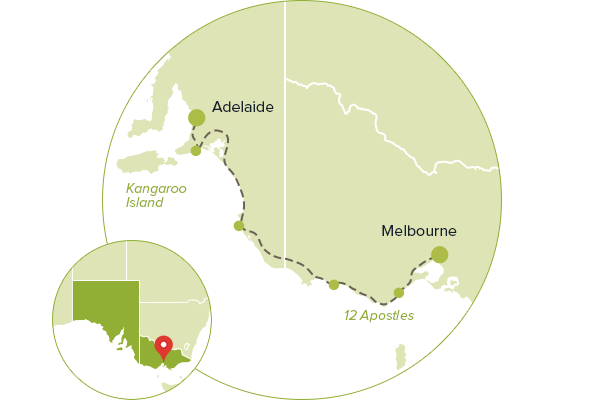 Map of itinerary  Melbourne to Adelaide via Great Ocean Road VIC