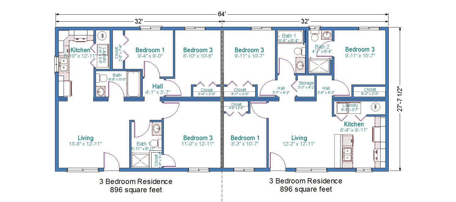 Duplex mobile home floor plans bedroom duplex floor Ranch style duplex plans