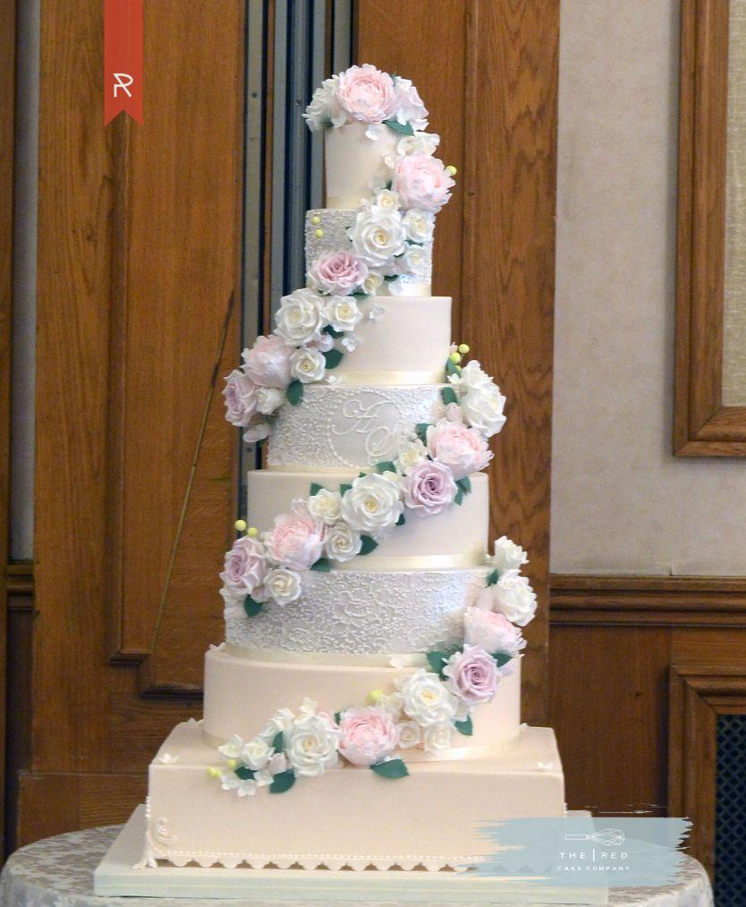 8 Tier Flower Garland Wedding Cake Big Wedding Cakes Lace