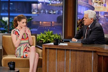 Vogue cover girl Kristen Stewart animatedly promotes the final installment of the Twilight film franchise on The Tonight Show With Jay Leno.  Photo By Getty