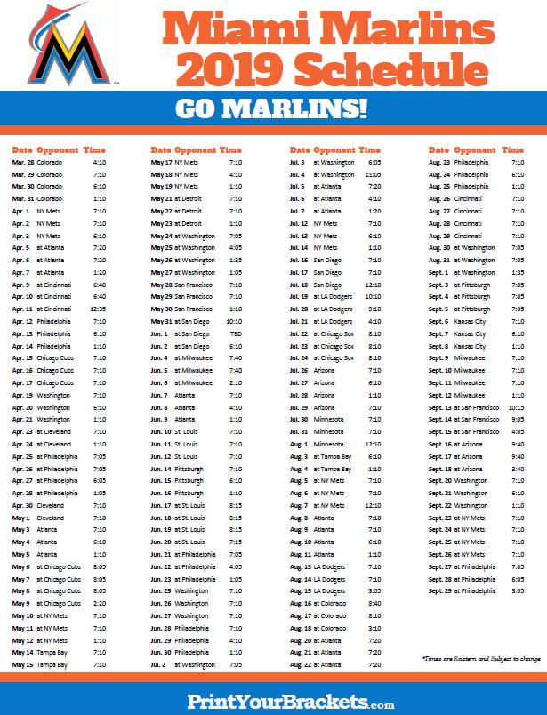 Printable 2019 Miami Marlins Schedule Printable Mlb Schedules