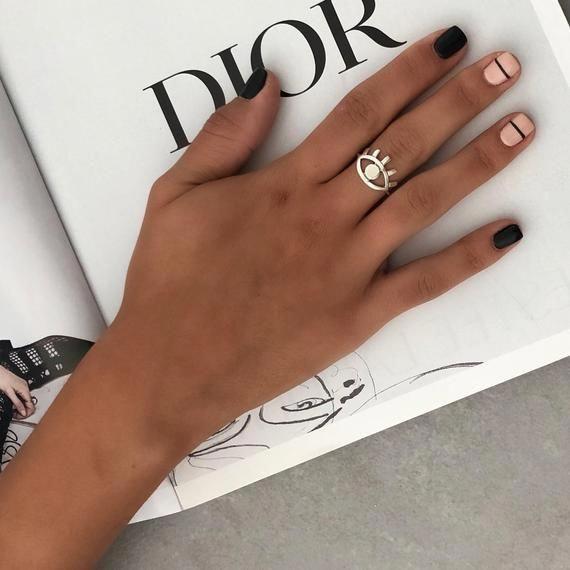Evil Eye Ring Sterling Silver Ring For Women Boho Ring   Etsy