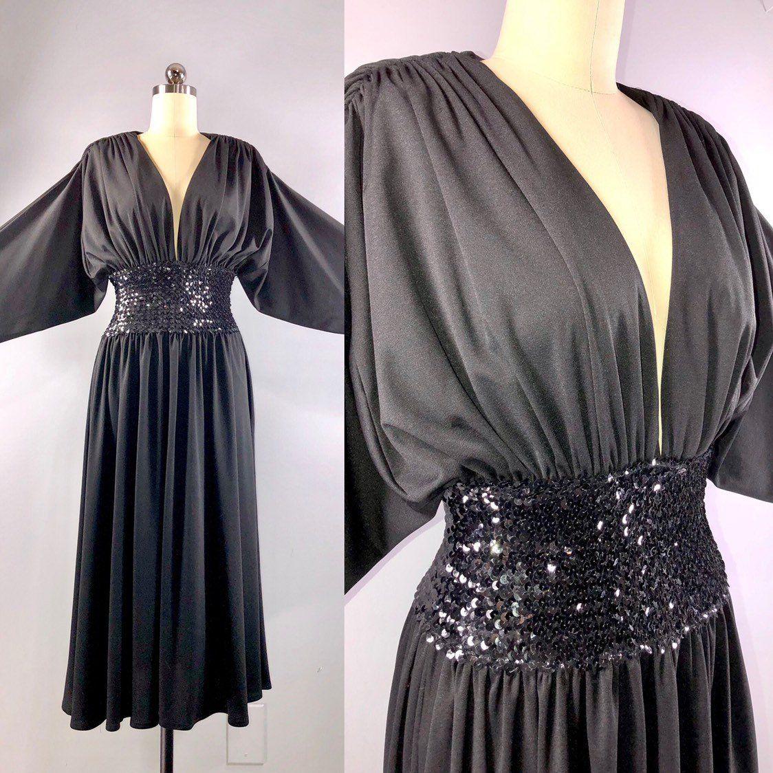 Sherbet 70s Dress Vintage 1970s Black Jersey Sequin Batwing Etsy Black Jersey Knit Dress 70s Dresses Vintage Jersey Knit Dress [ 1124 x 1124 Pixel ]