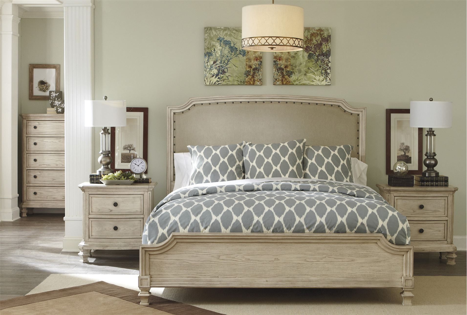 Demarlos California King Panel Bed; living spaces | Master Bedroom