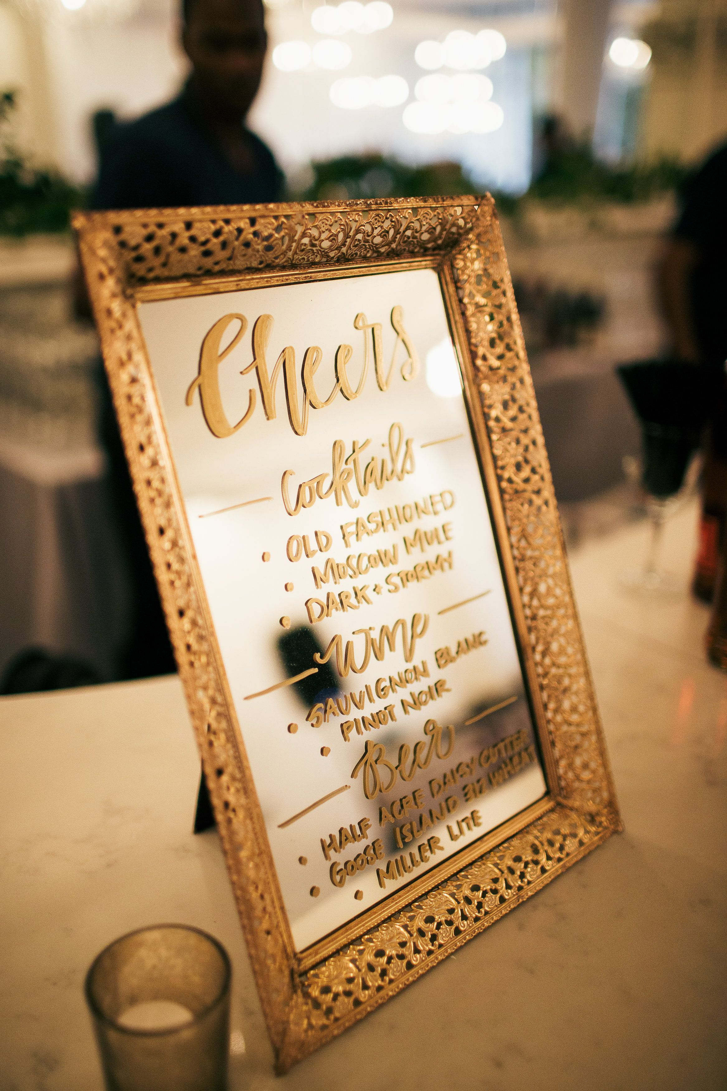Calligraphy mirror bar menu chicago vintage weddings