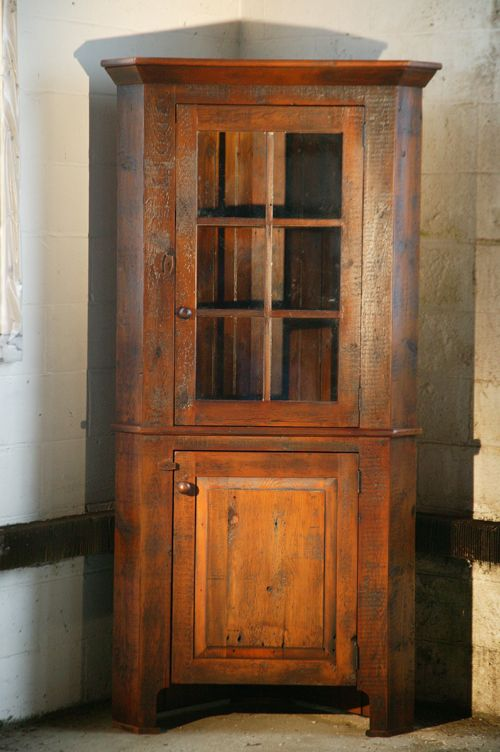 Standard Reclaimed Wood Corner Cabinet With Glass Door   Lake And Mountain  Home
