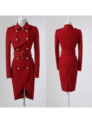 Gold Button Red Slim Double Breasted Long Coat