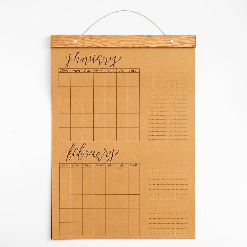Kitchen Companion Kraft Jumbo Hanging Calendar Paper Source Hanging Calendar Calendar Paper Source