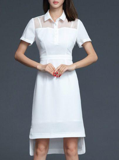 Shop Midi Dresses - A-line Short Sleeve Slit Elegant Plain Midi Dress online. Discover unique designers fashion at StyleWe.com.