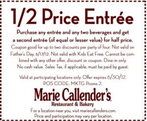 photograph relating to Marie Callender Coupons Printable called Marie Callenders Printable Coupon ~ Obtain Entree 50 percent off w