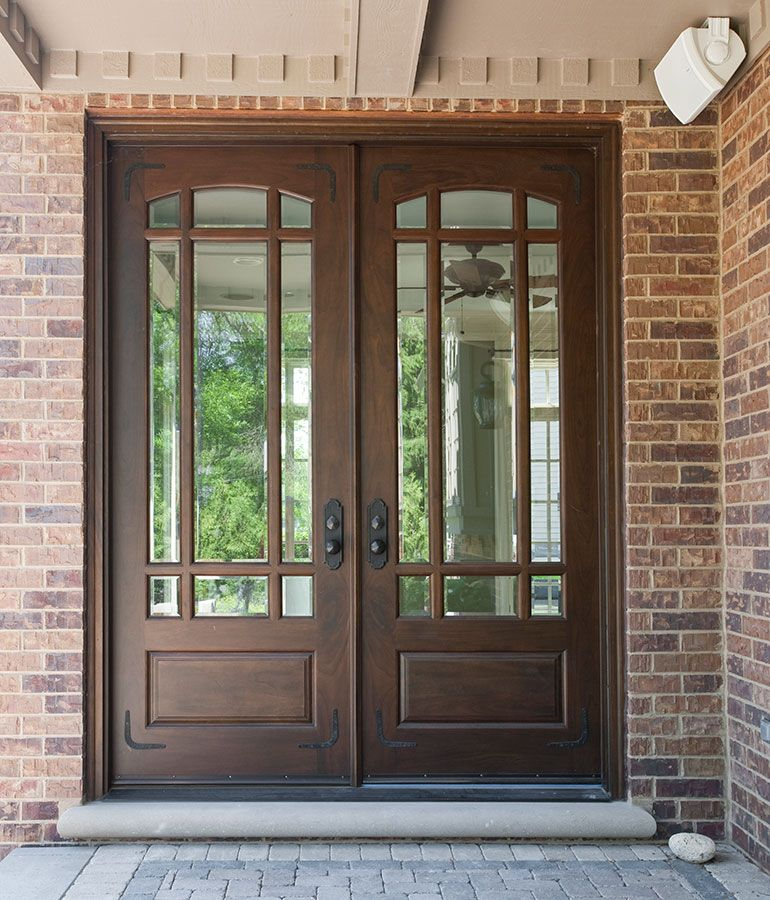 Front Door Custom Double Solid Wood With Walnut Finish