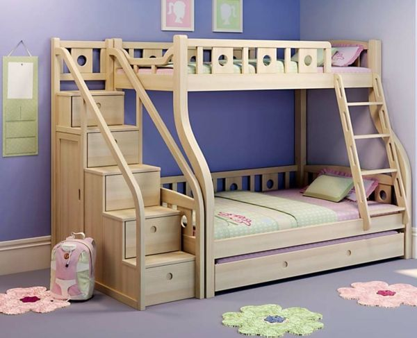 praktisches etagenbett mit treppe aus holzschubladen kinderzimmer. Black Bedroom Furniture Sets. Home Design Ideas