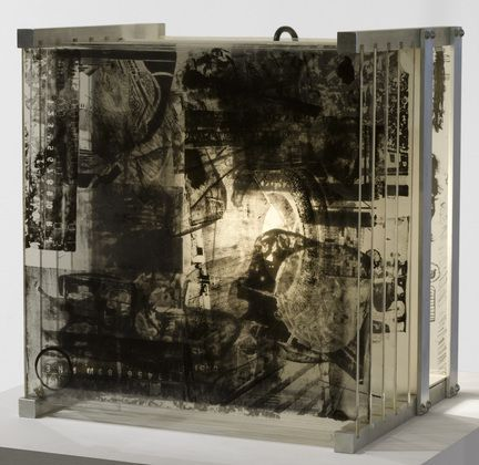 """robert rauschenberg, """"shades"""" (1964)  MoMA: """"Instead of paper, the book is constructed from an aluminum frame holding a fixed title page and five movable plates of plexiglass. Rauschenberg lithographed numerous images taken from newspapers and magazines on each panel. When the plates are inserted into the base—in one of six million possible permutations, according to one expert—the work becomes three dimensional and weblike, glowing from the light of a small bulb attached in the back."""""""