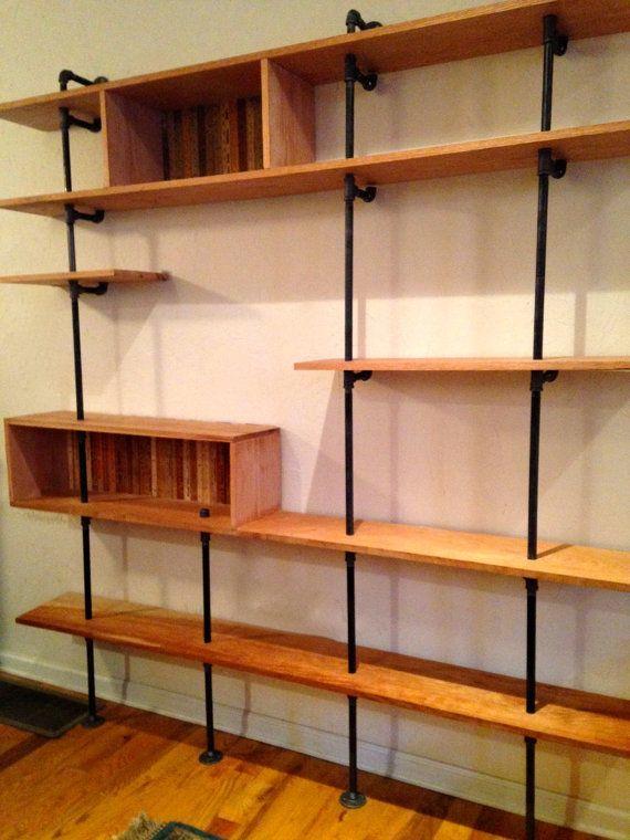items similar to mid century modern shelving unit reclaimed wood u0026 steel pipe custom on etsy