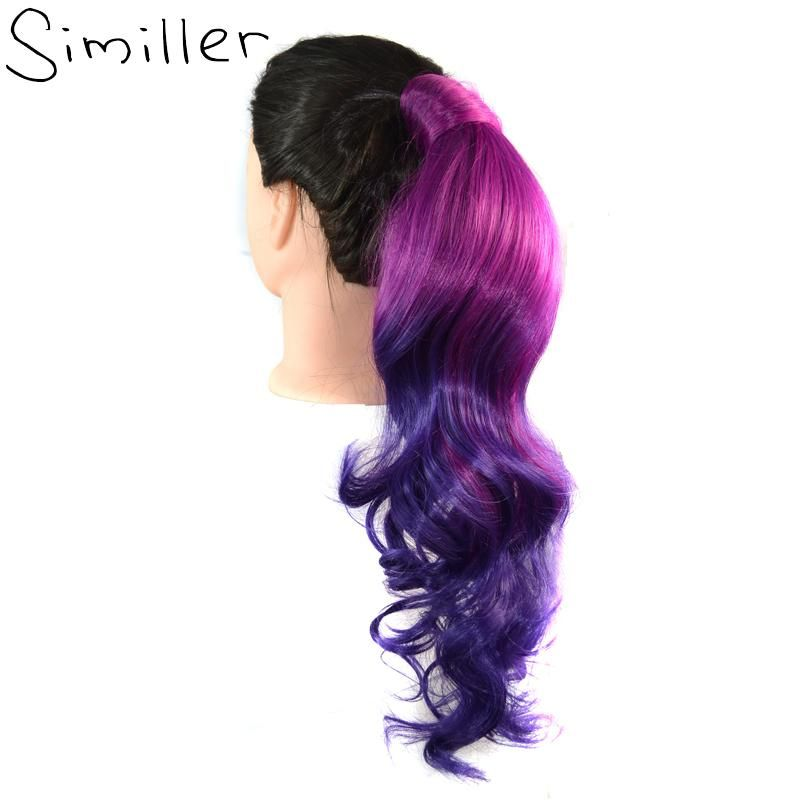 Similler Women Ombre Synthetic Hair Extensions One Piece Ponytail