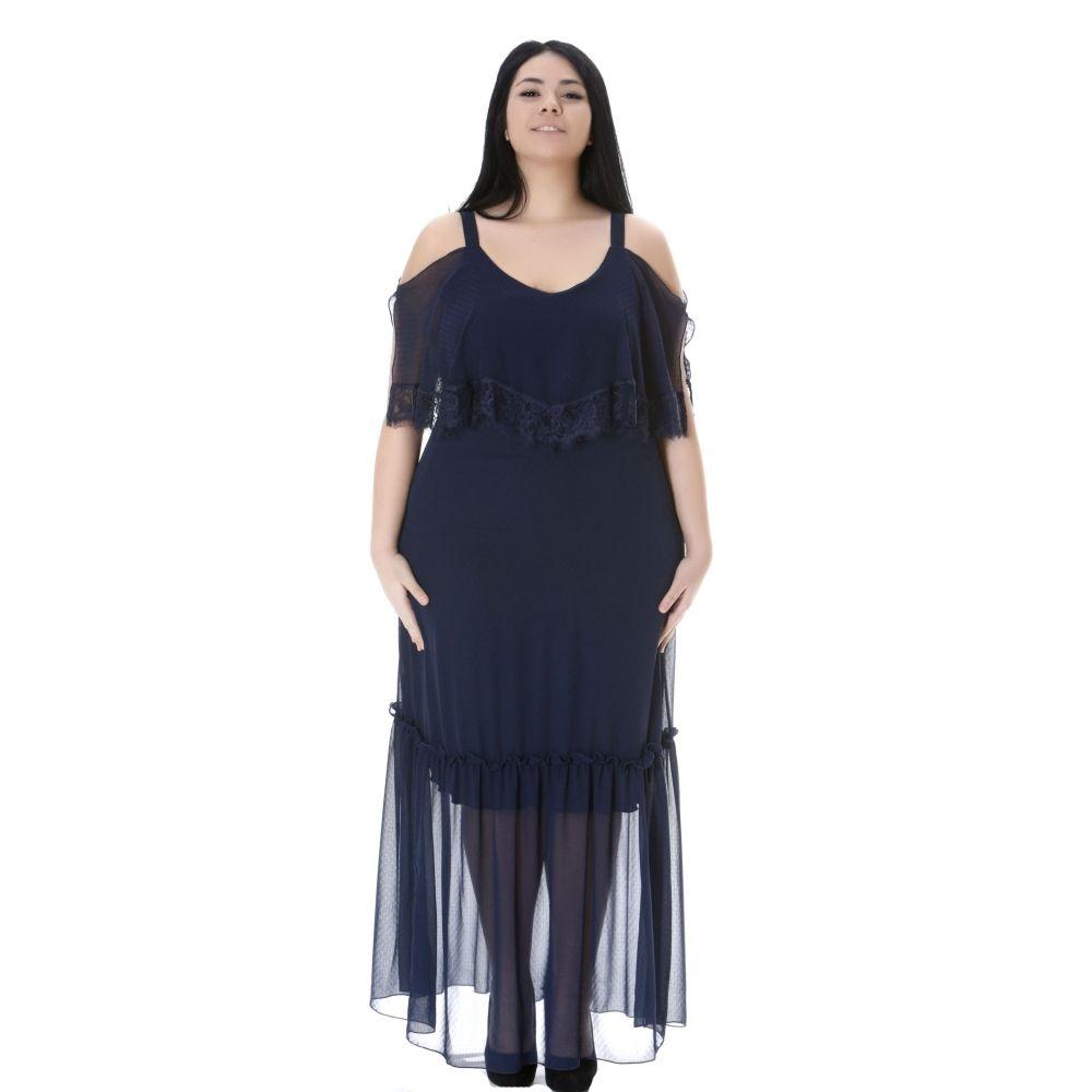 Φόρεμα maxi μουσελίνα με έξω τους ώμους 0ddf1b45a7a