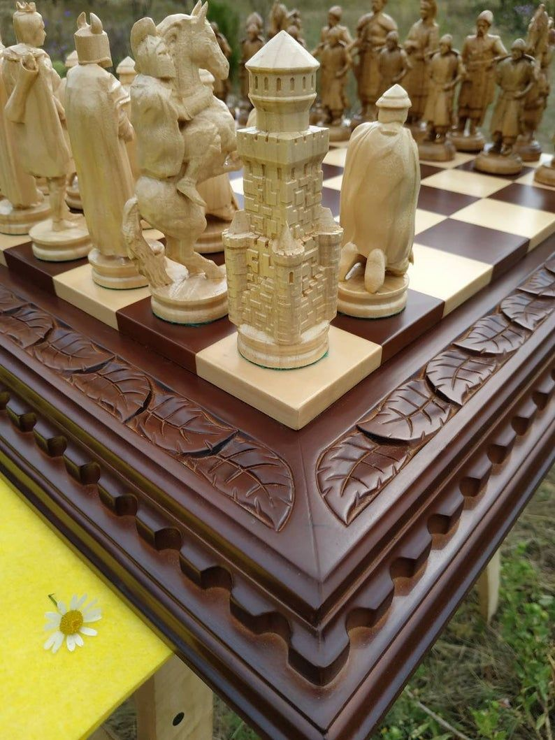Wooden Chess Set Board Pieces Exclusive Handmade Big Large Wood