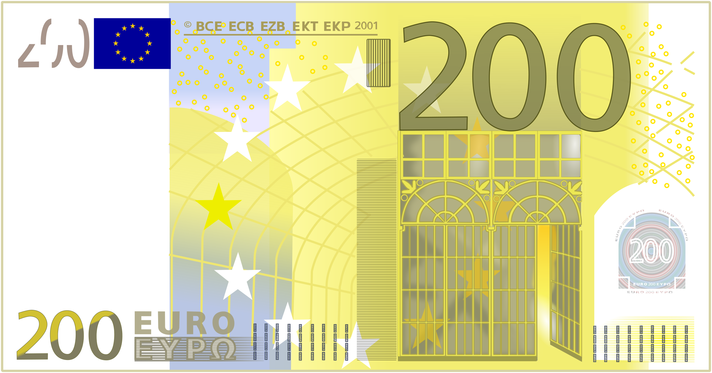The 200 euro bill reflects an art movement known as the