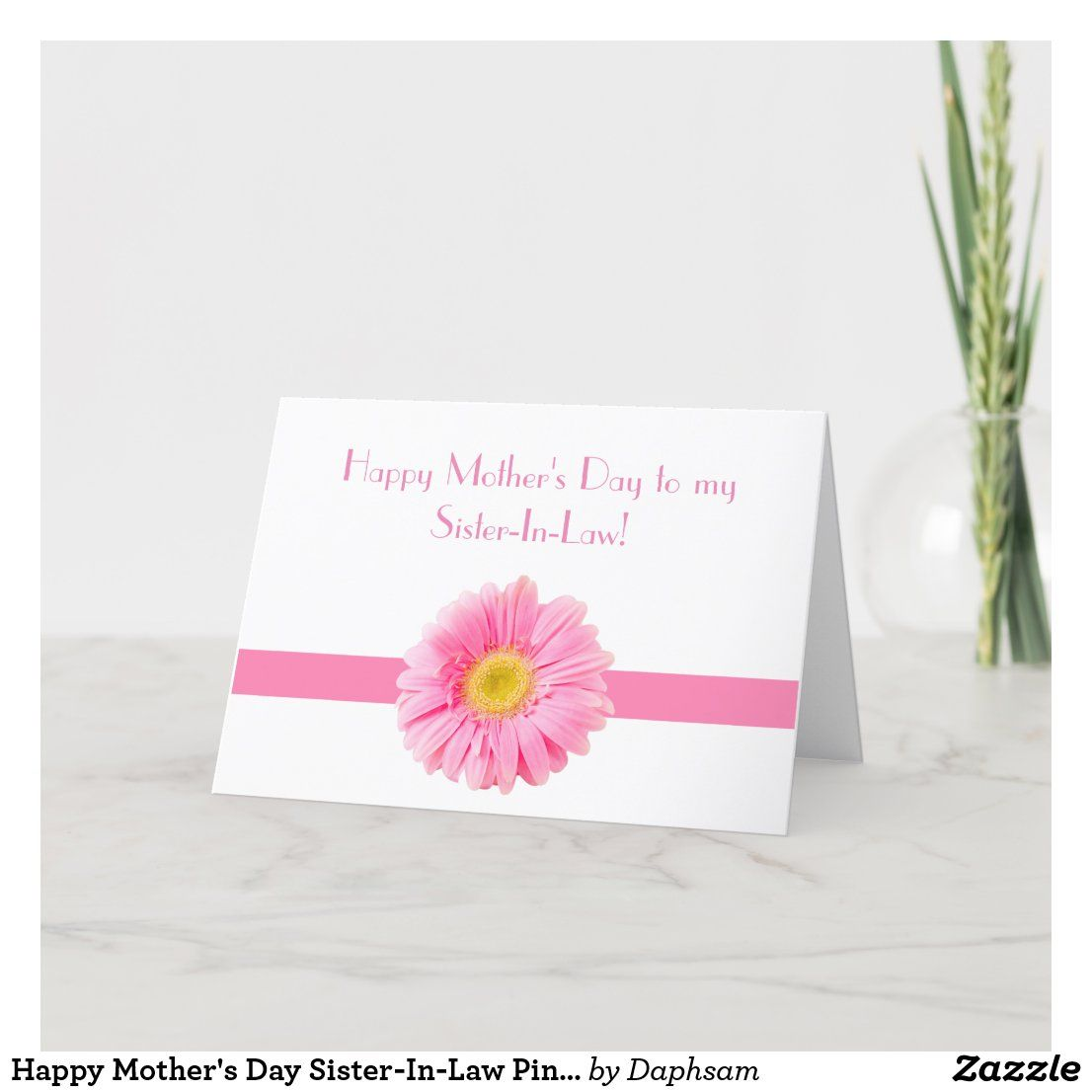 Happy mothers day sisterinlaw pink daisy holiday card