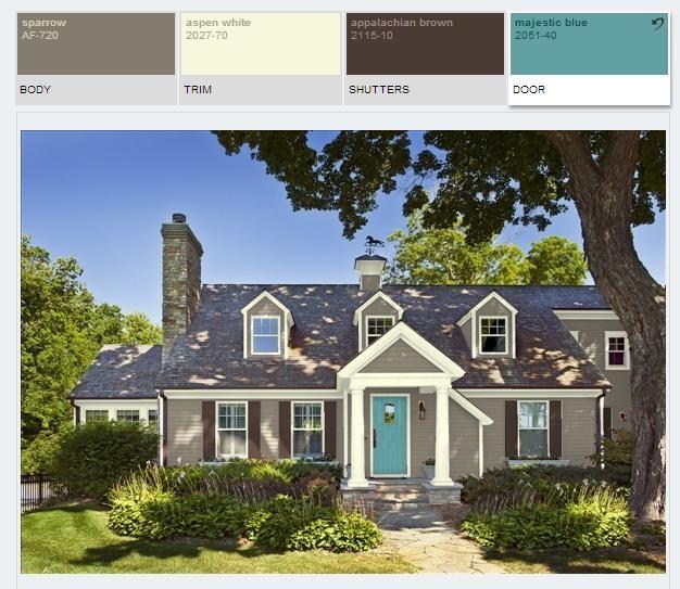 Benjamin Moore Paint Color Schemes Sparrow Appalachian Brown Majestic Blue Exterior Paint