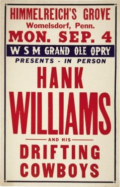 Hank Williams Country Music Records Collectibles And Memorabilia Concert Posters Hank Williams Vintage Concert Posters