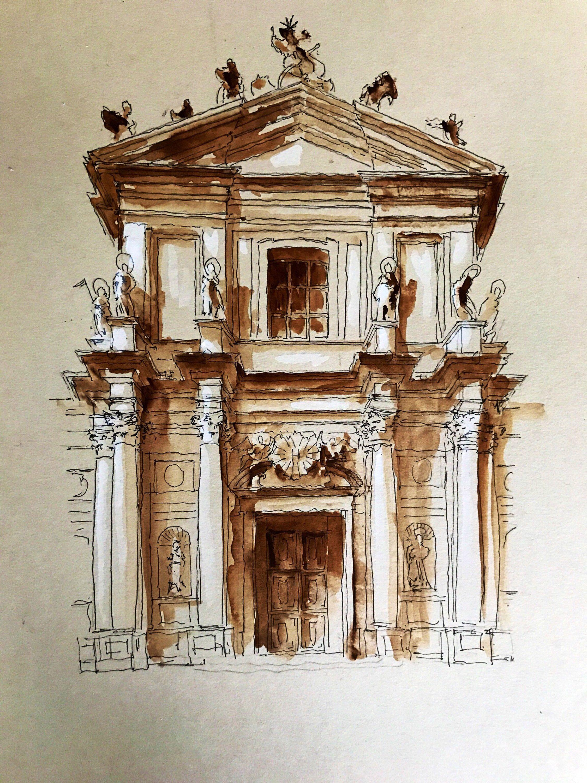 Photo of Original watercolour study of Baroque facade of Santa Maria Assunta also called Gesuiti church – Venice, Italy