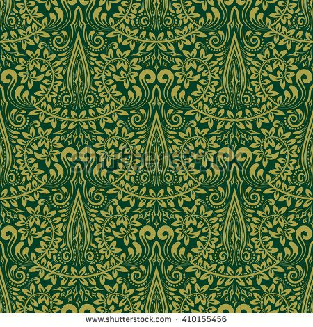 Green Floral Ornament In Baroque Style Antique Repeatable Wallpaper Design