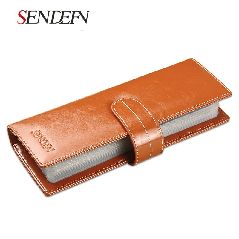 Sendefn Unisex Leather Card holder Large Capacity ID Card Case Lady Business Card Package Set Card Bag Wallet