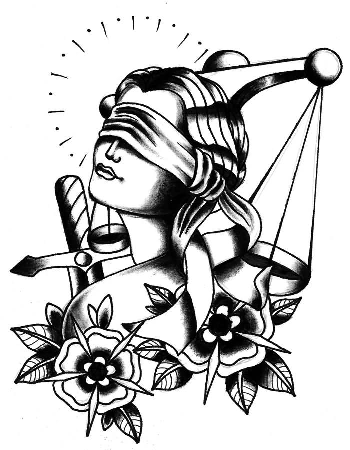 Tattoo Lady Justice: Lady Justice With Flowers Tattoo Stencil (With Images