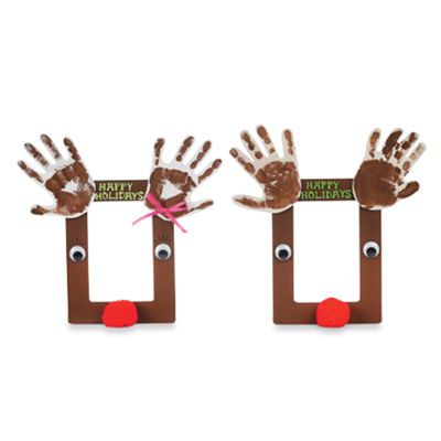 For parent gift: Rudolph photo frame (XL popsicle sticks, red pom poms, googly eyes, paper to paint hands)