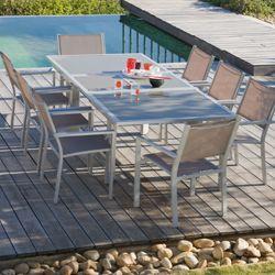 Salon de jardin Aloes aluminium 1 table + 8 fauteuils ...
